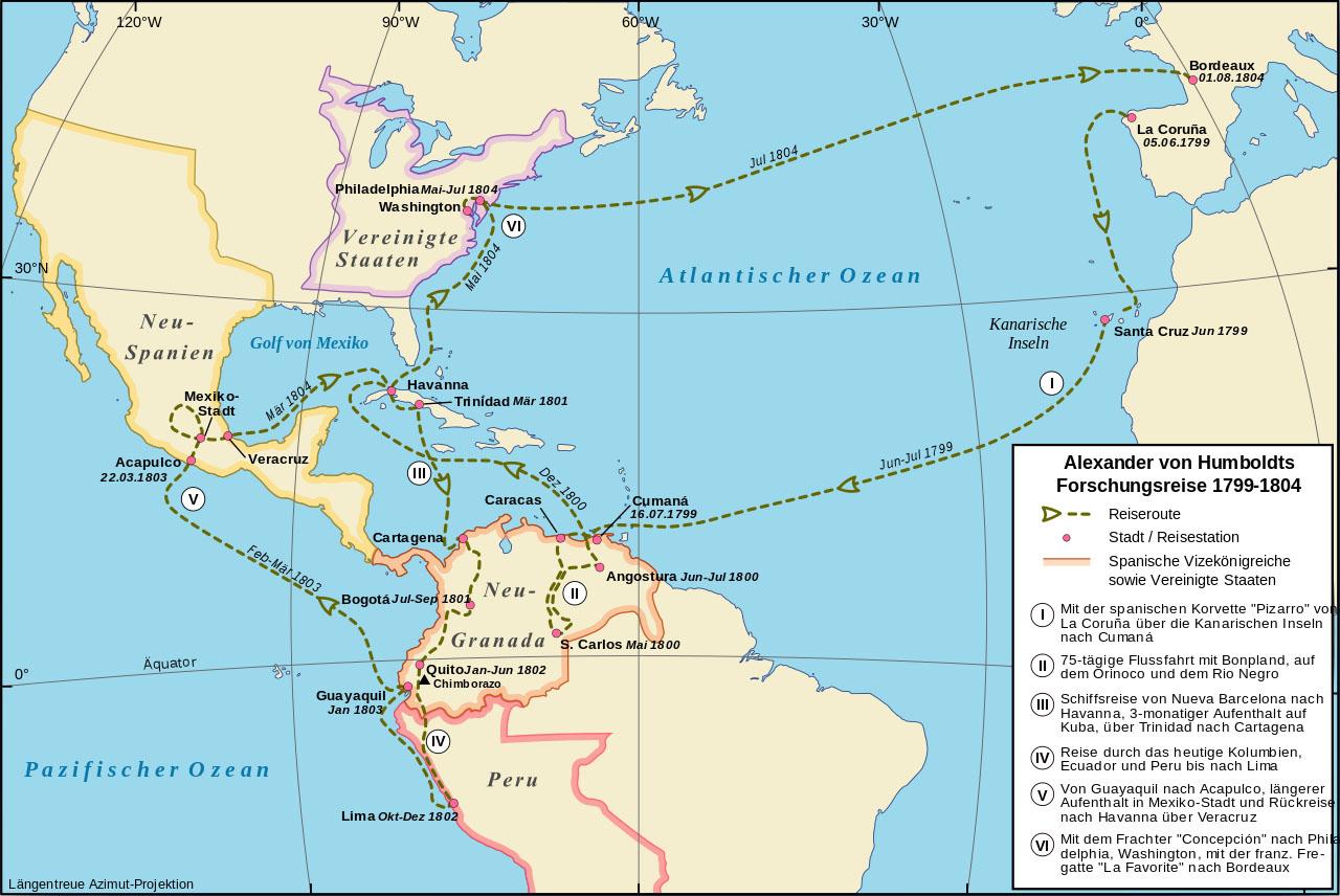 Verlauf der Amerikareise von Alexander von Humboldt in der Zeit von 1799-1804.