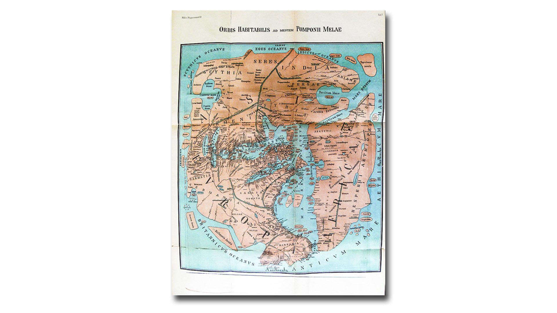 Von K. Miller 1898 rekonstruierte Weltkarte des Pompunius Mela, die der Geograph und Kosmograph Mela 43-44 n. Chr. anfertigte. Eine Inselgruppe kann als die Kanaren gedeutet werden.