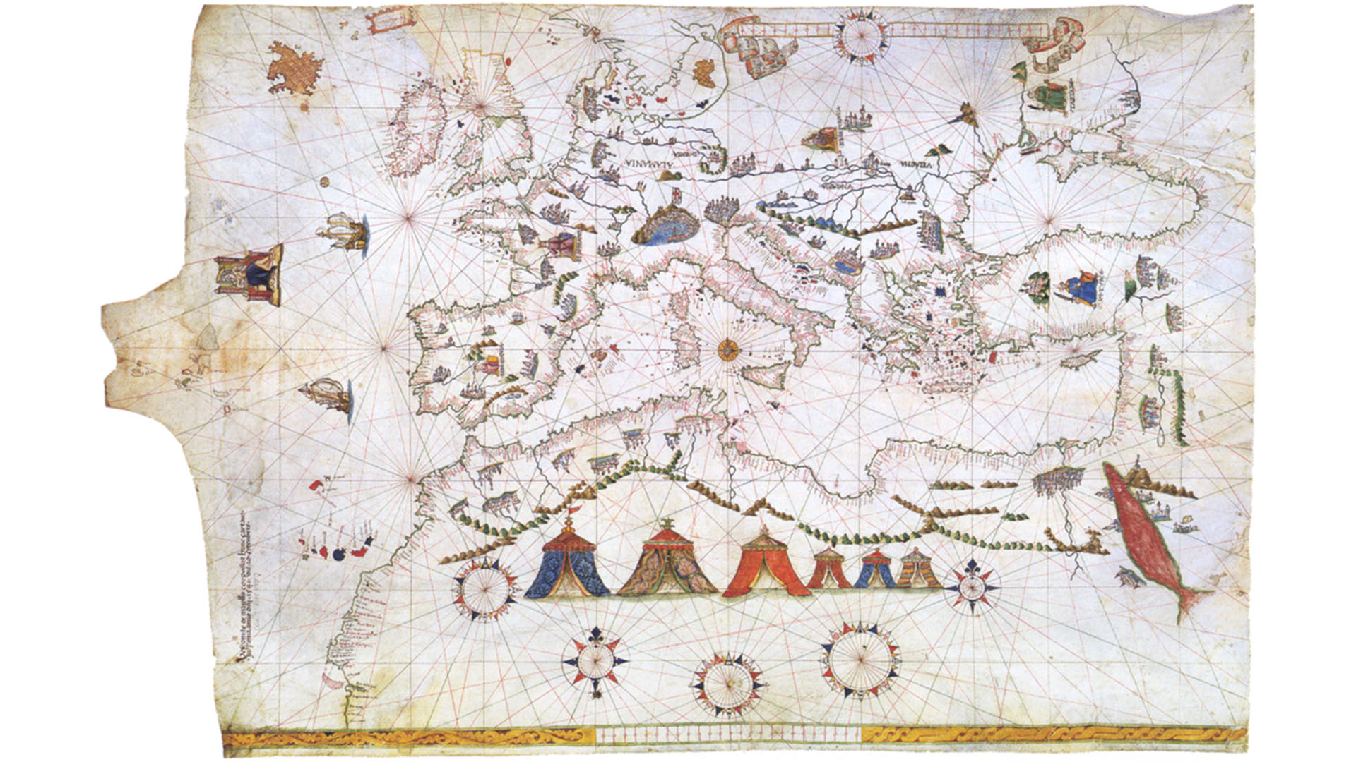 Portolankarte des Vesconte Maggiolo aus dem Jahre 1541. Die 7 kanarischen Hauptinseln exakt eingezeichnet.