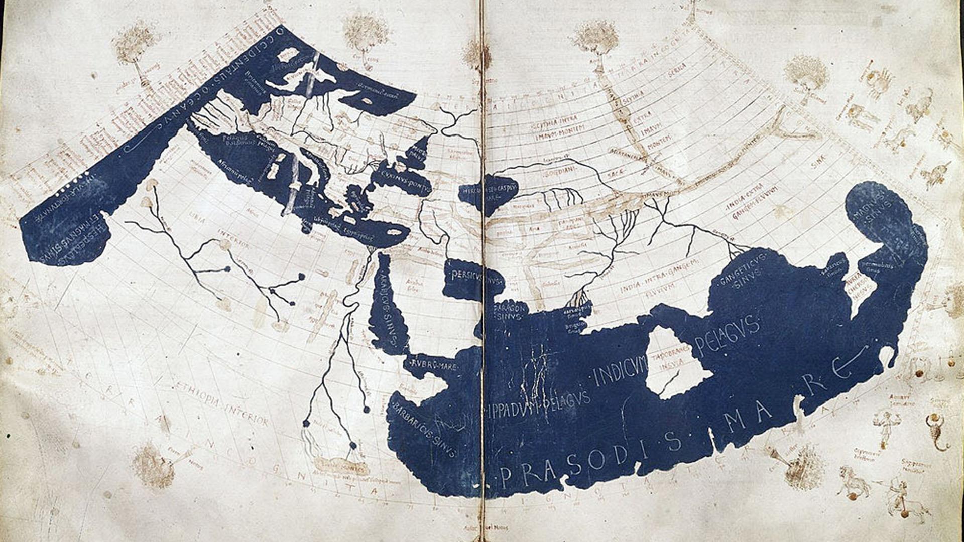 Eine aus dem 15. Jhd. nachempfundene Weltkarte des Claudius Ptolemäus –so stellte man sich das Werk des Griechen vor.