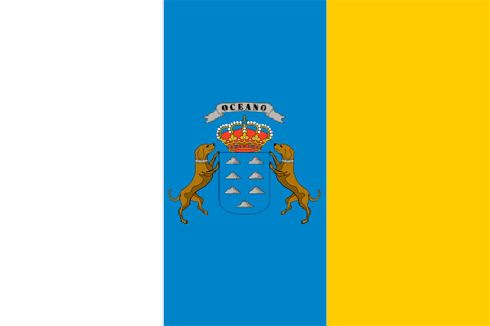 Die kanarische Flagge mit den beiden Hunden.