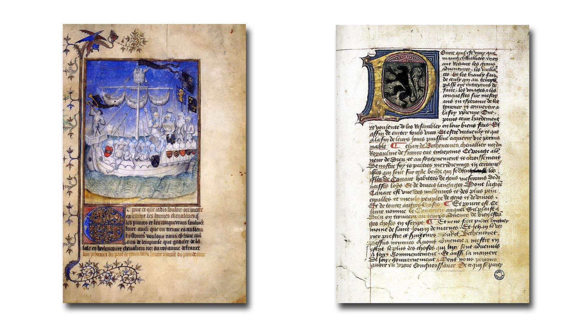 """Buchseiten aus dem Werk """"Le Canarien""""."""