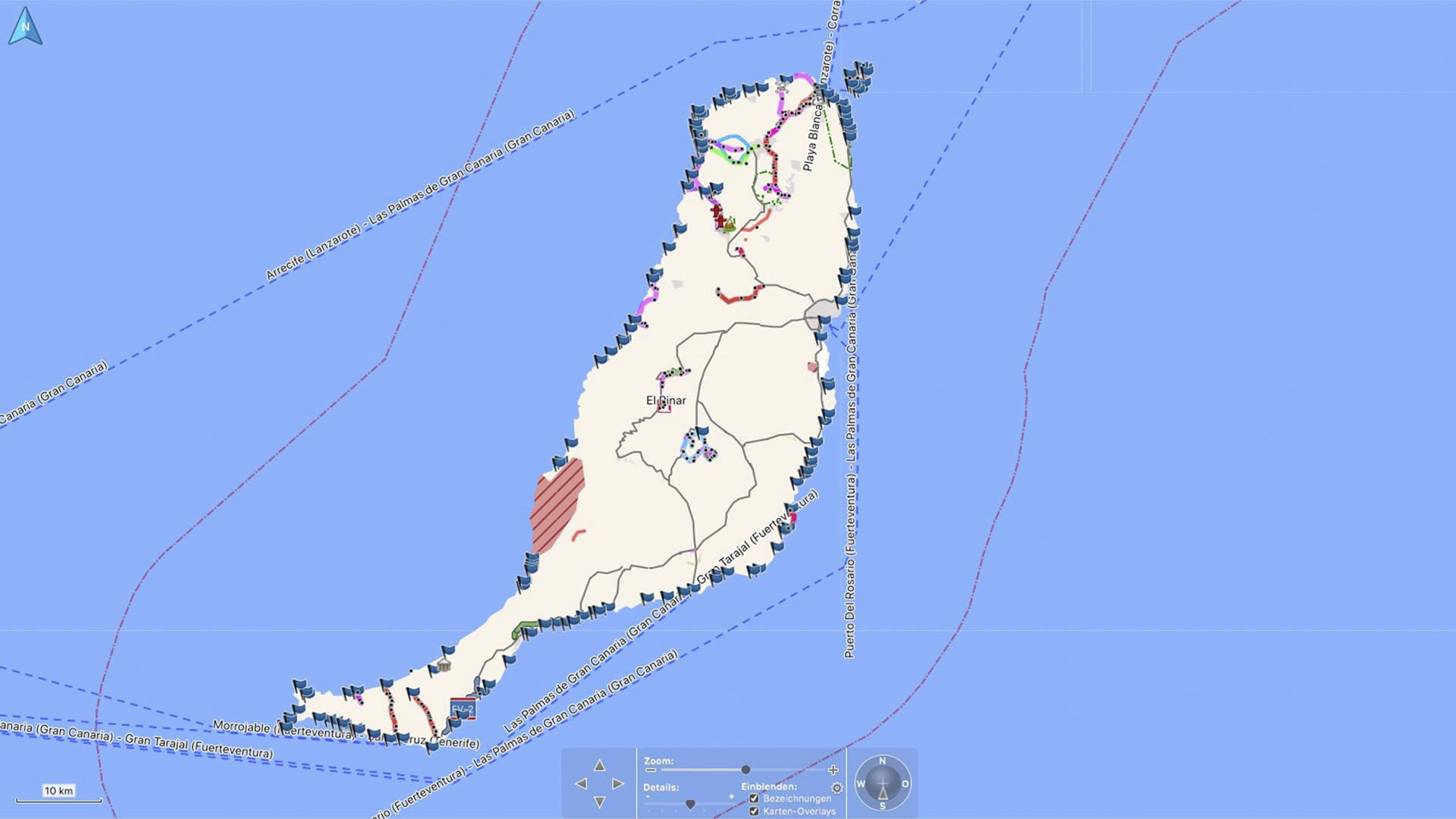 Fuerteventura Karte der Straende: Die gesamte Insel Fuerteventura im Ueberblick.