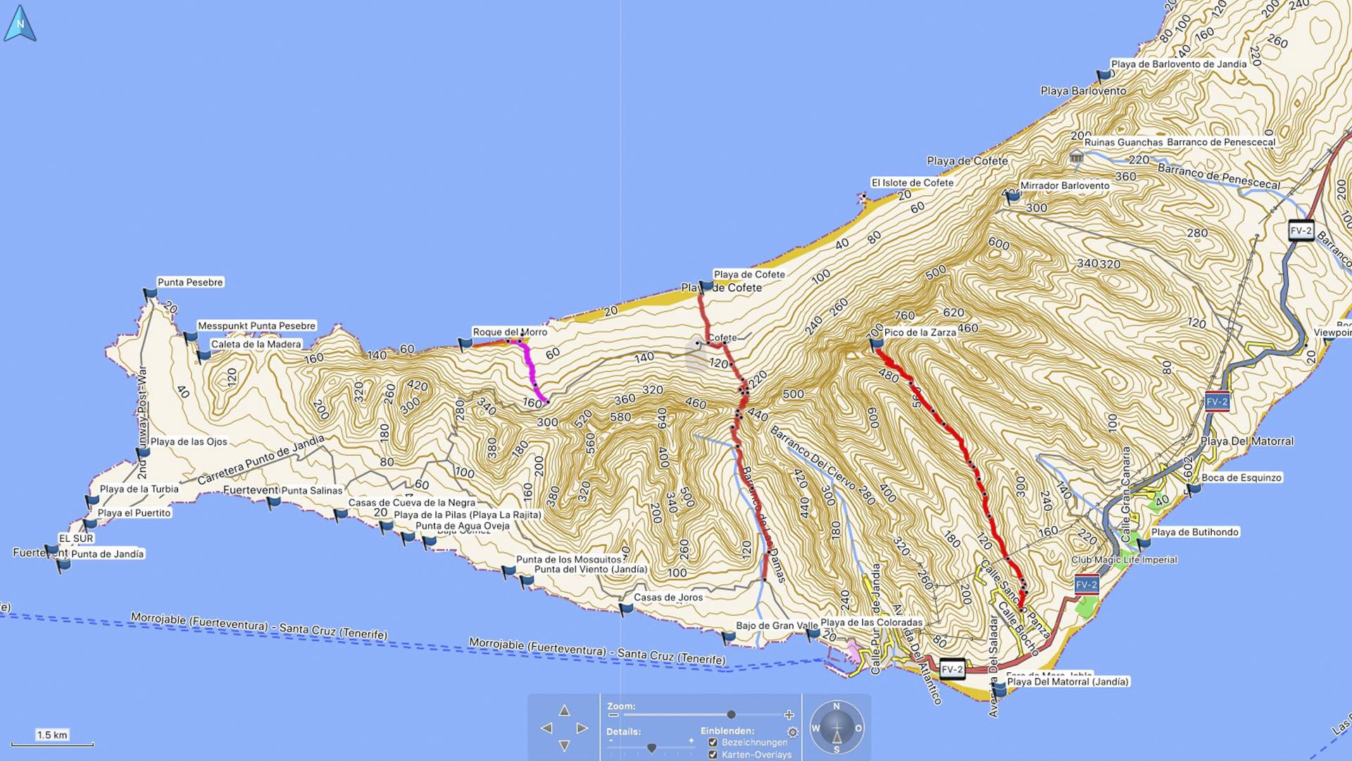 Fuerteventura Karte der Straende: Halbinsel Jandia und der Parque Natural Jandia.