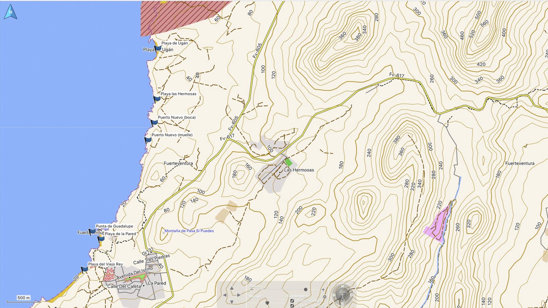 Fuerteventura Karte der Straende: Die Strände von La Pared.