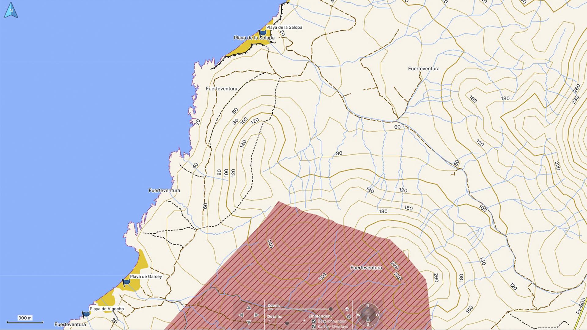 Fuerteventura Karte der Straende: Die Strände von Pajara.