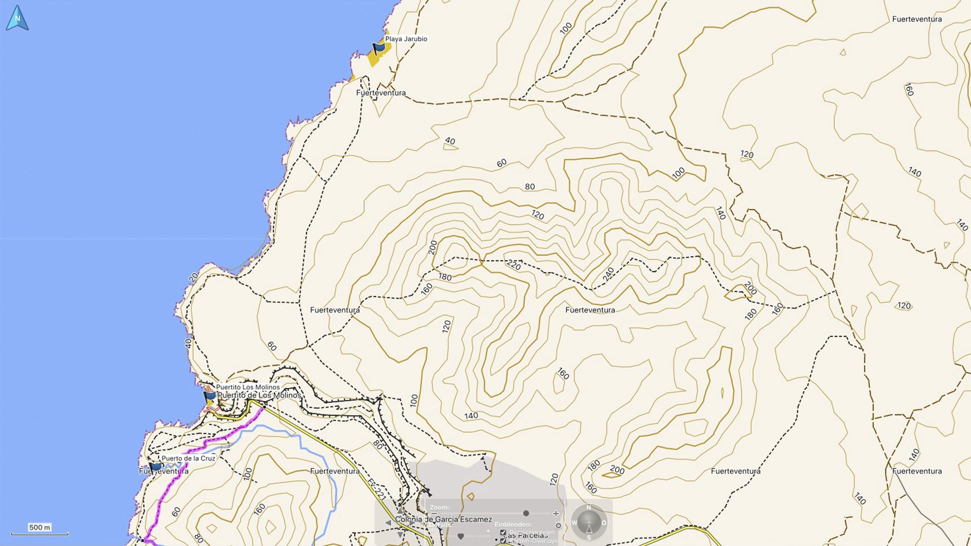 Fuerteventura Karte der Straende: Die Strände von Los Molinos.