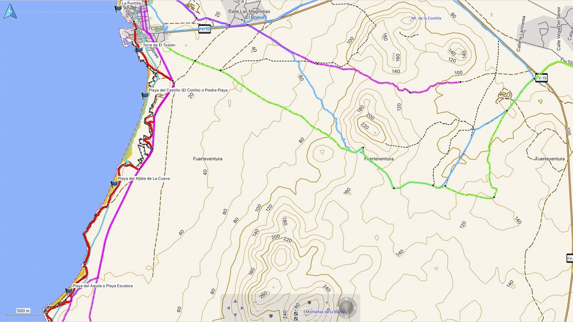 Fuerteventura Karte der Straende: Die Strände Strände von El Cotillo suedlicher Teil.