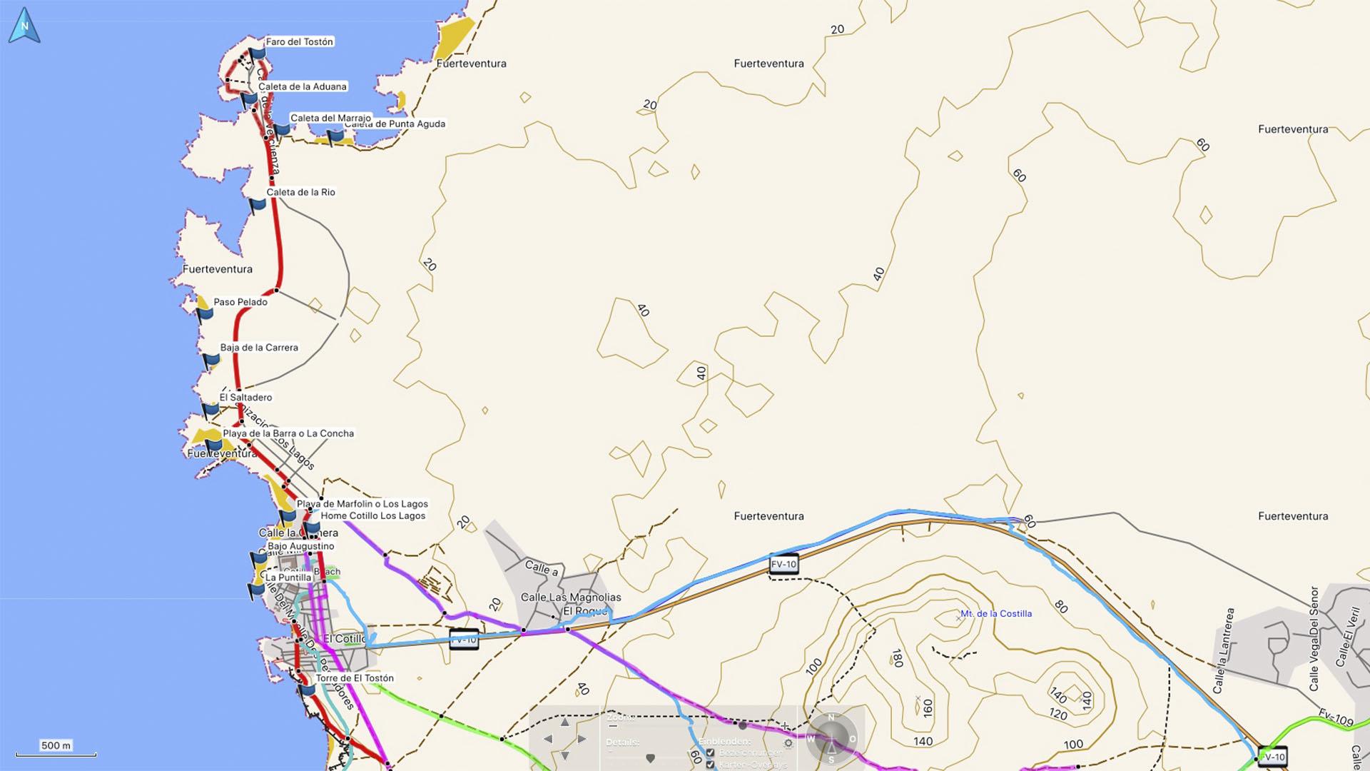 Fuerteventura Karte der Straende: Die Strände Strände von El Cotillo noerdlicher Teil.