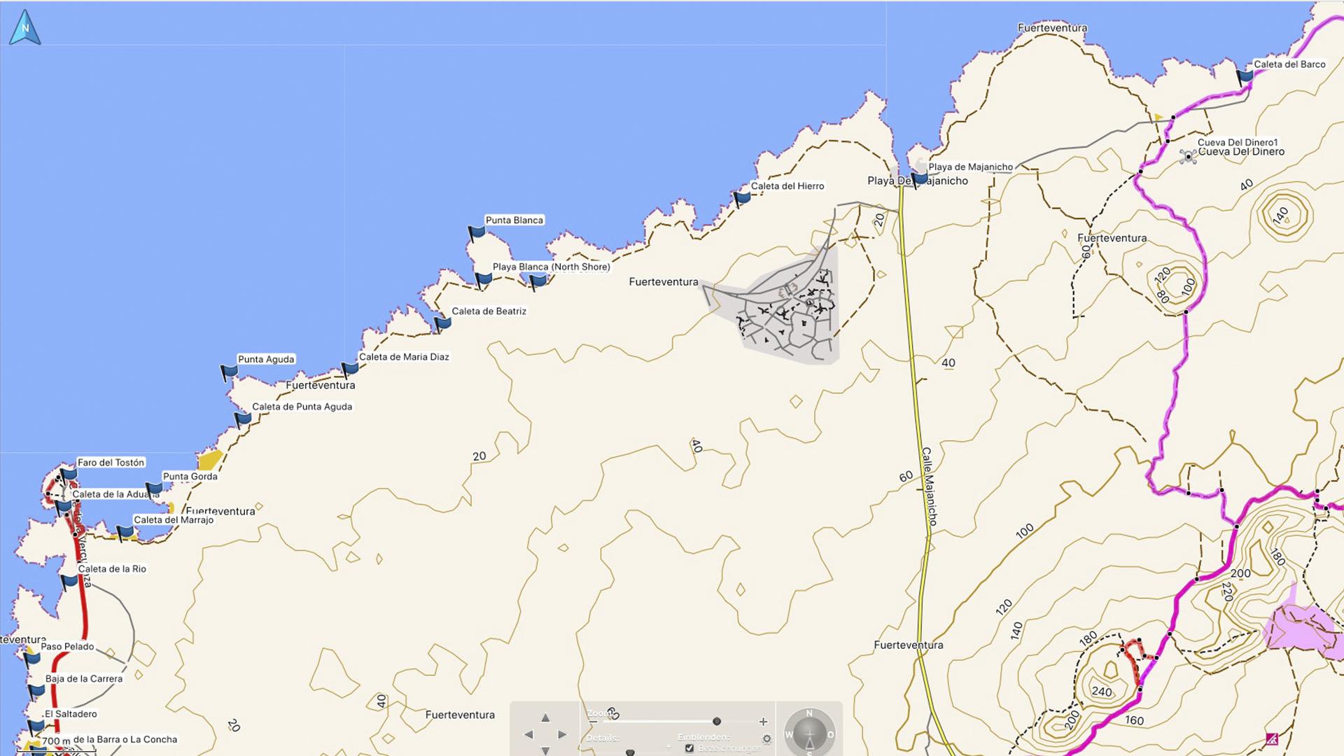 Fuerteventura Karte der Straende: Die Strände Strände des North Shore.