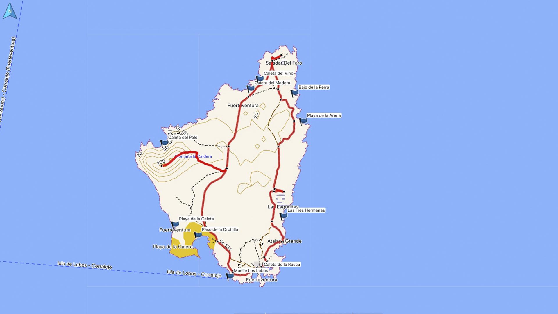 Fuerteventura Karte der Straende: Die Insel Ilsa de Lobos.