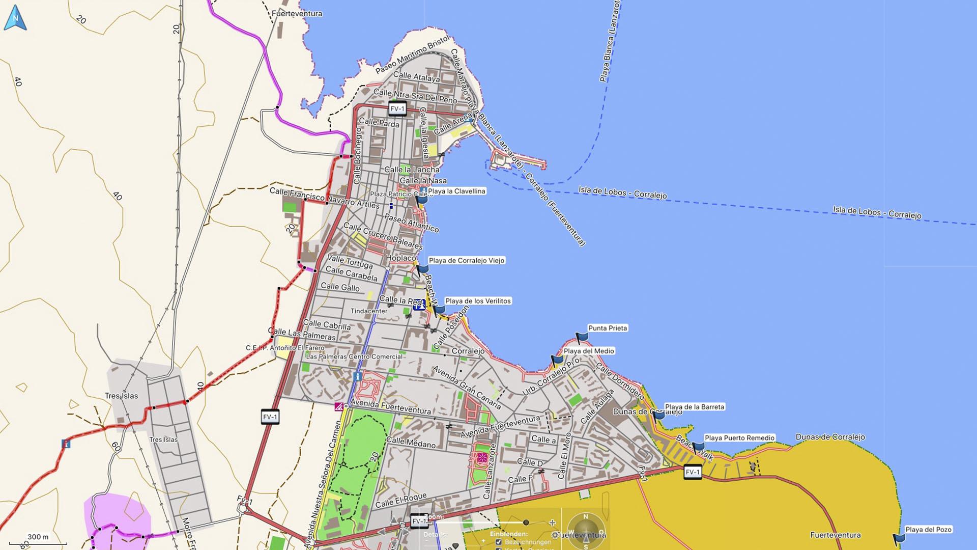 Fuerteventura Karte der Straende: Los Lobos - Corralejo