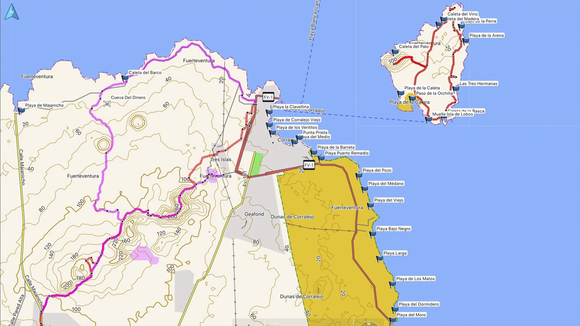 Fuerteventura Karte der Straende: Los Lobos - Corralejo - El Jable