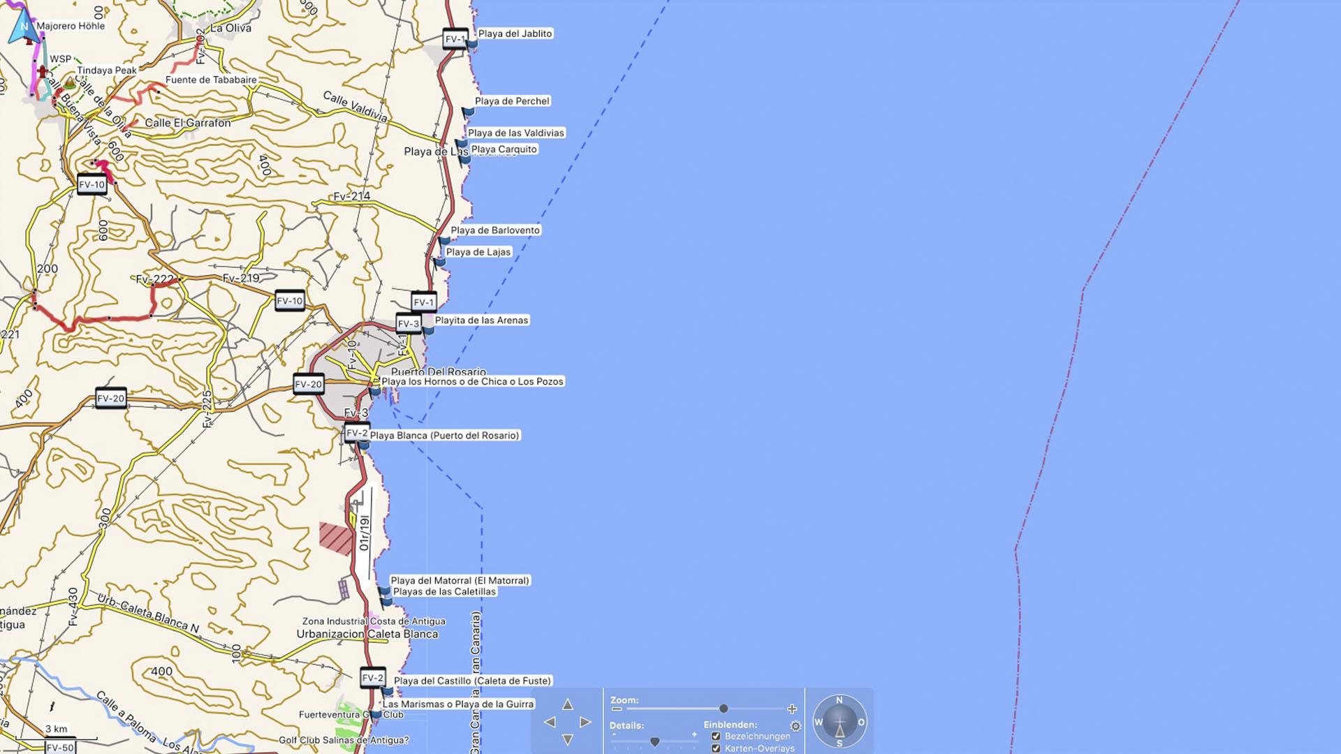 Fuerteventura Karte der Straende: Die Strände in der Gemeinde Puerto del Rosario Ost-Küste.