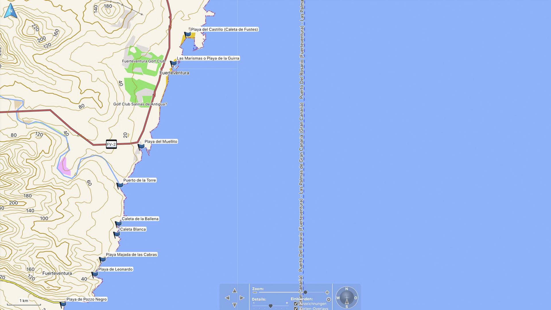 Fuerteventura Karte der Straende: Die Strände Caleta de Fuste –Pozo Negro.