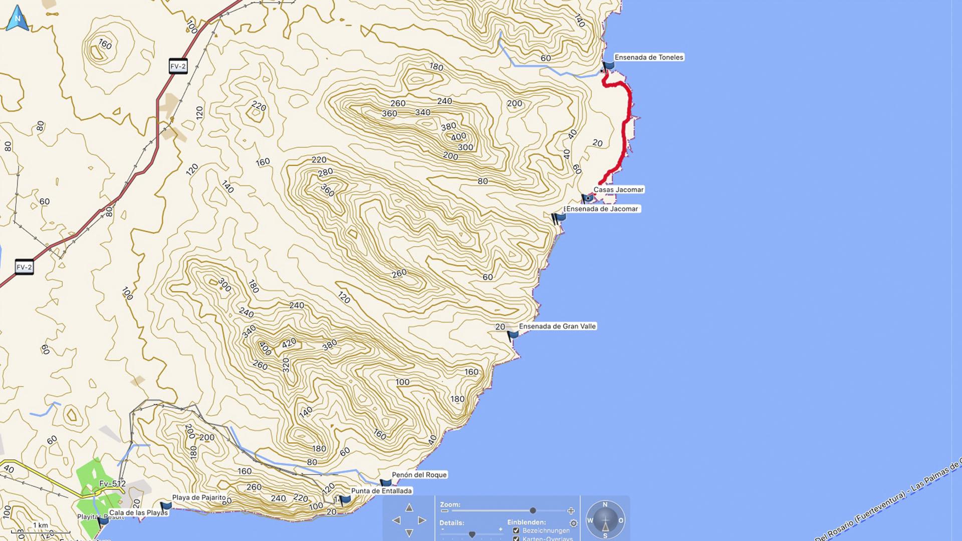 Fuerteventura Karte der Straende: Die Strände des Naturparks Cuchillos de Vigan.