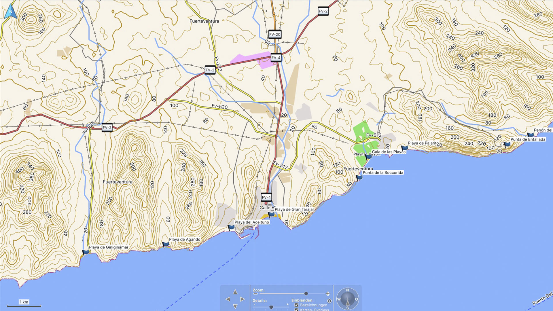 Fuerteventura Karte der Straende: Die Strände Las Playitas – Giniginamar.