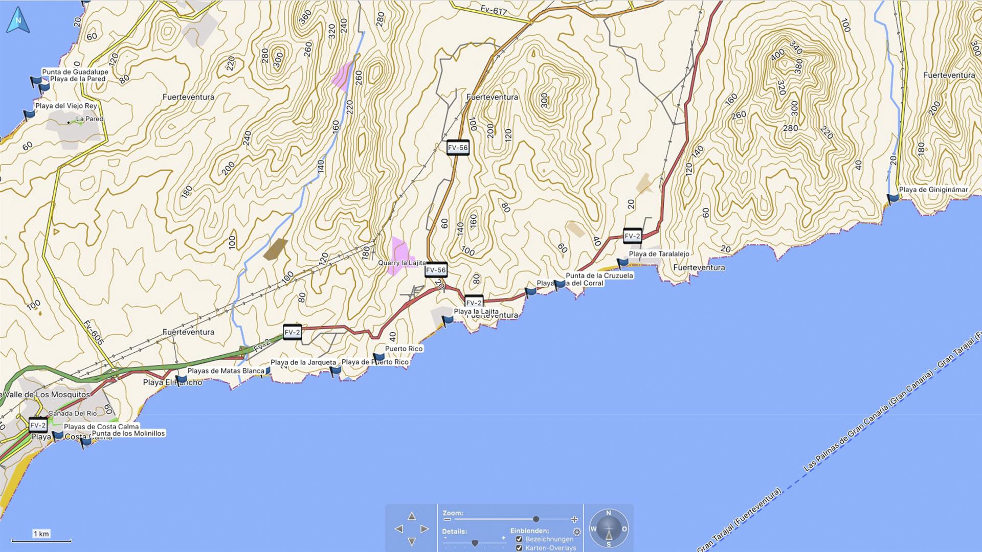 Fuerteventura Karte der Straende: Die Strände Giniginamar - Costa Calma.