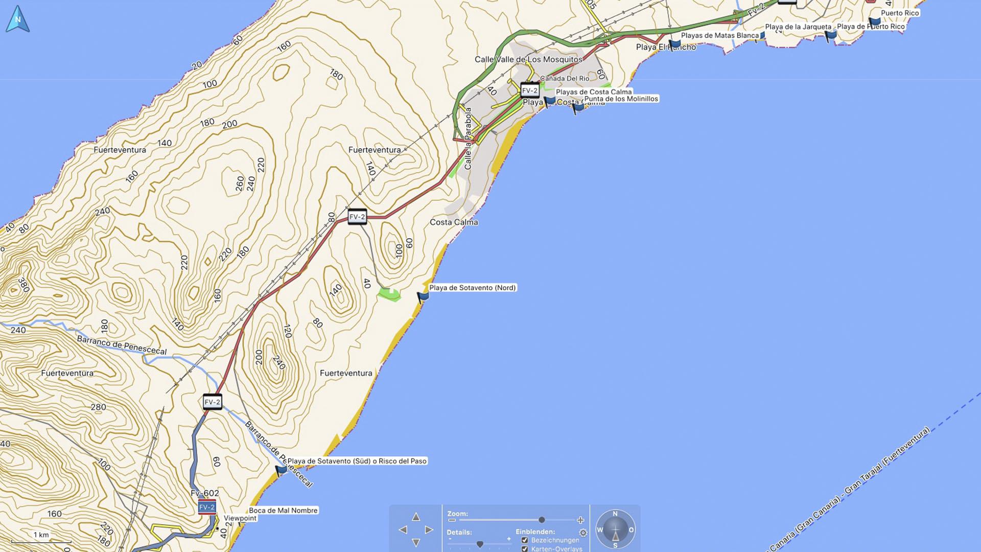 Fuerteventura Karte der Straende: Die Strände der Costa Calma.