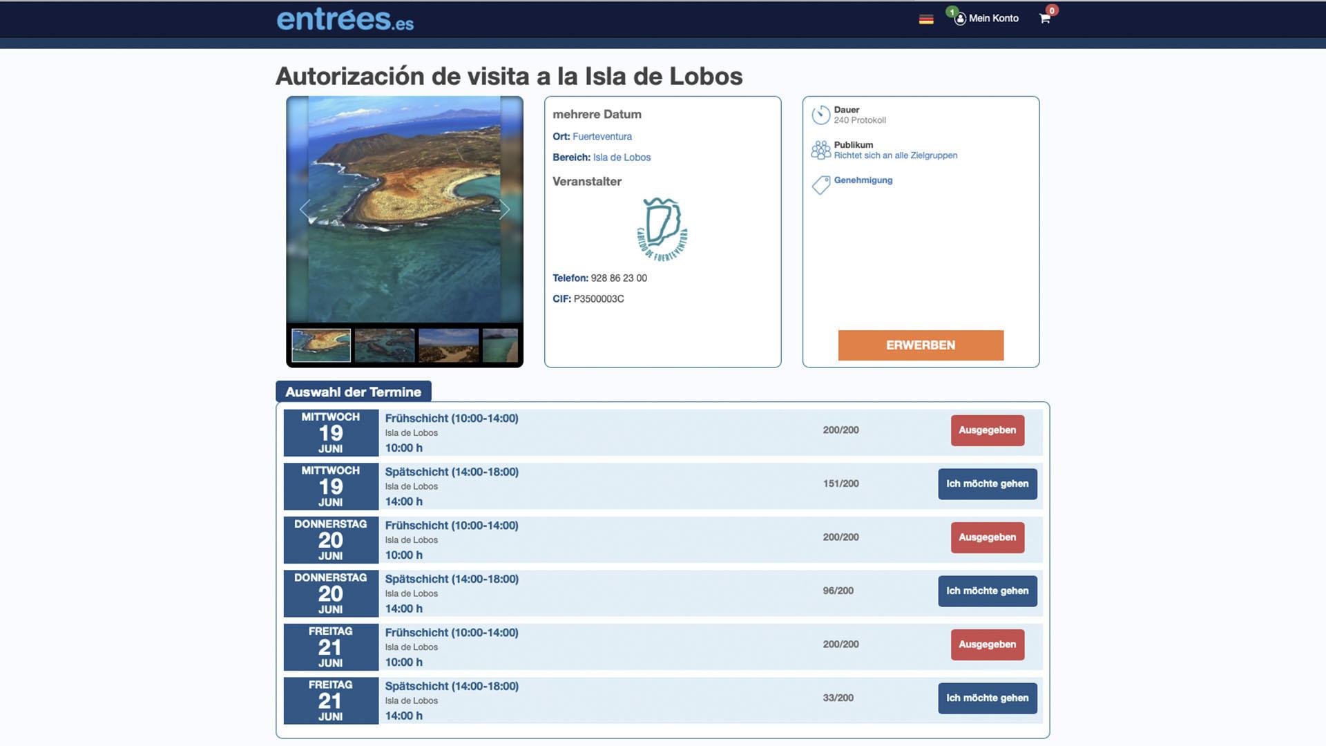 Lösen eines Carnets auf der Website entrées.es für die Isla de Lobos Fuerteventura.