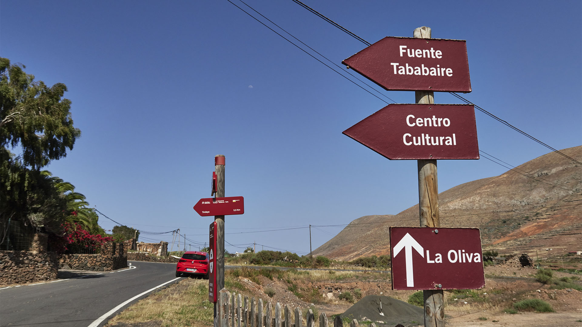 Abzweig zur Fuente de Tababaire Vallebrón Fuerteventura.