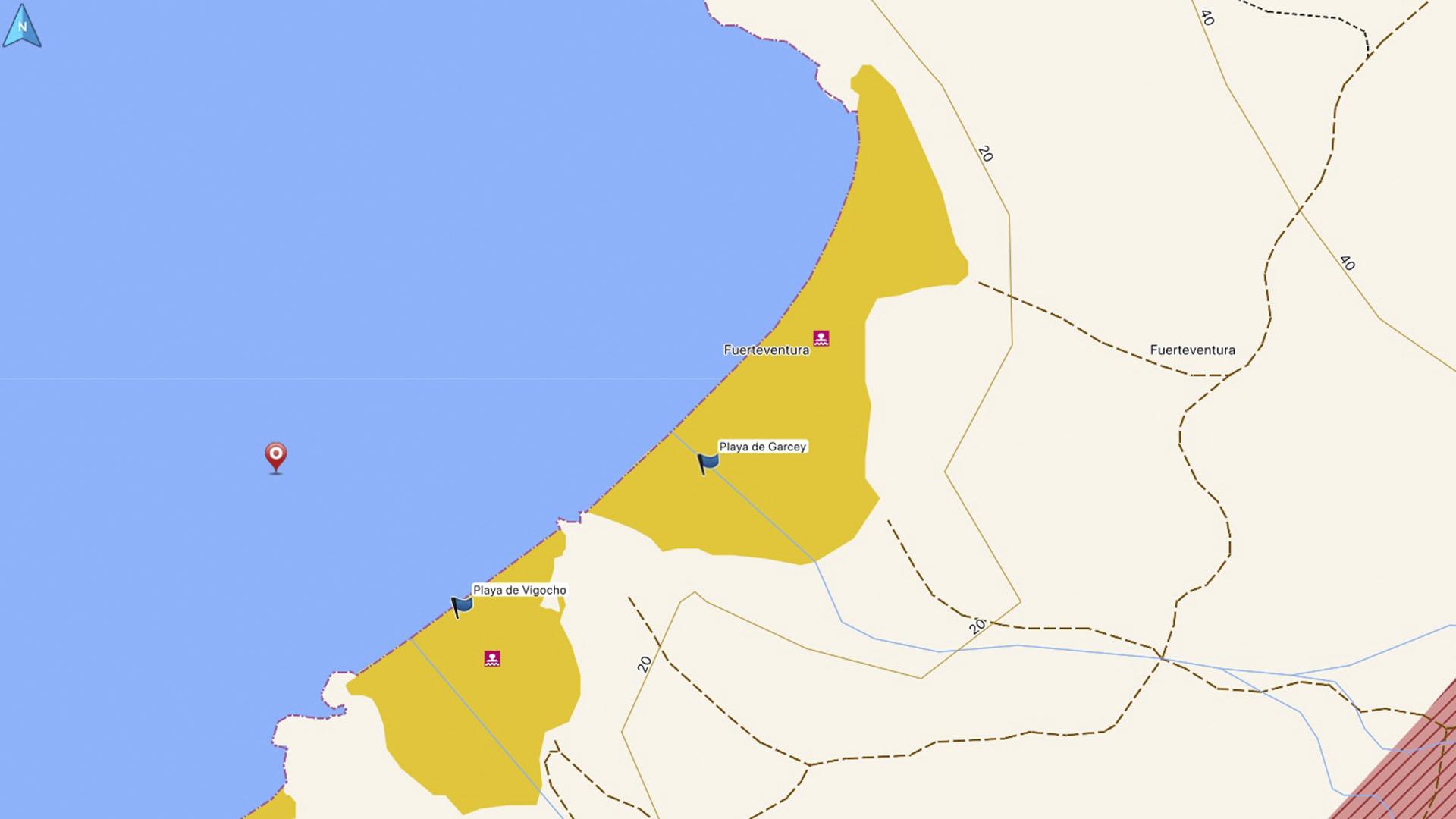 Sehenswürdigeieten Fuerteventura Pájara: Die Lage des Wracks der American Star.