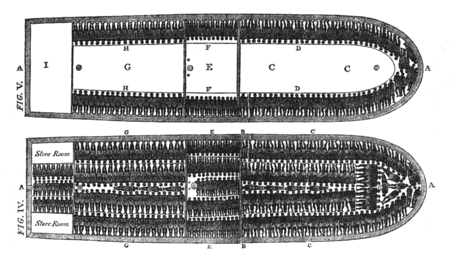 Konstruktionszeichnungen einen Sklavenschiffes.