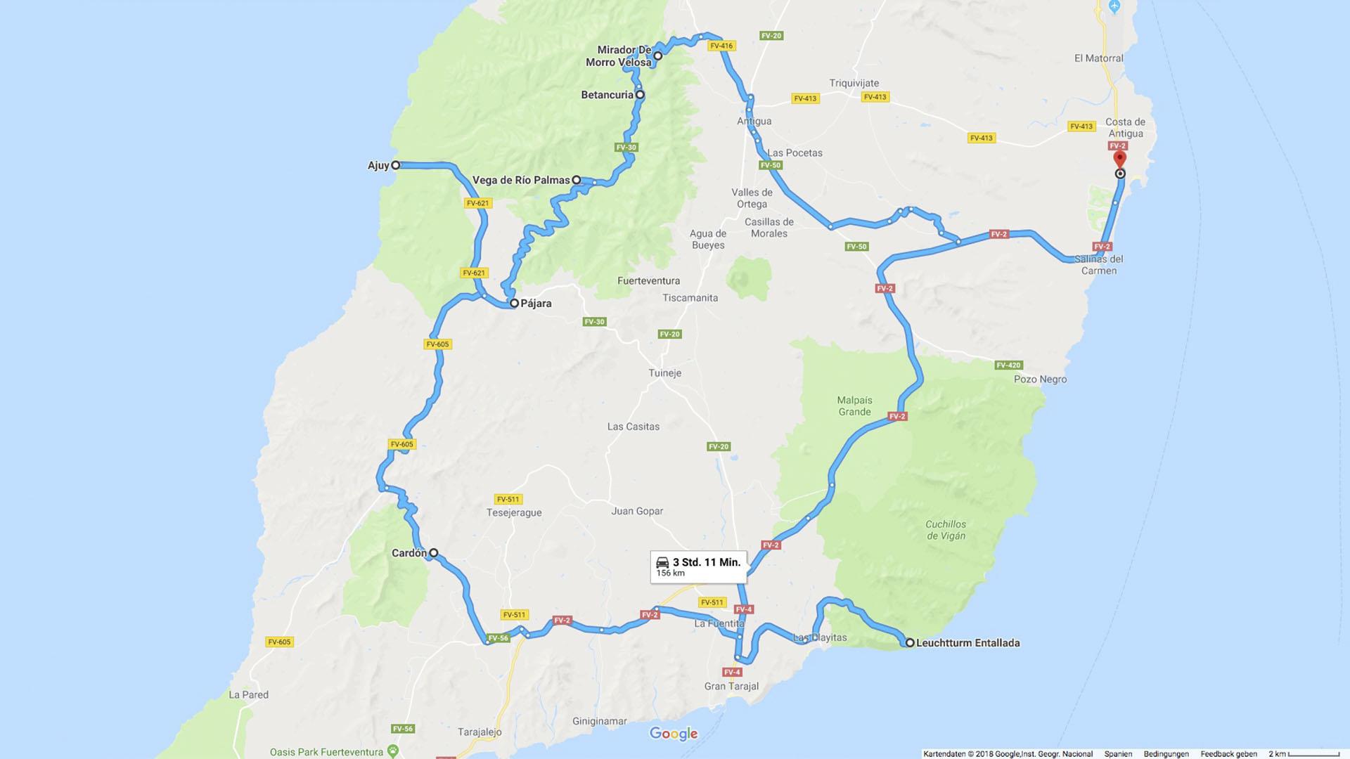 Fuerteventura Inselrundfahrt Zentralmassiv – Route.