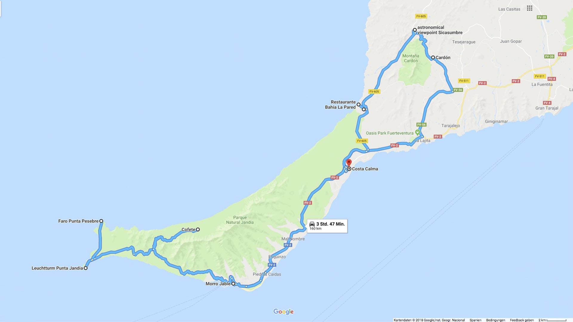 Fuerteventura Inselrundfahrt Südschleife – Route.