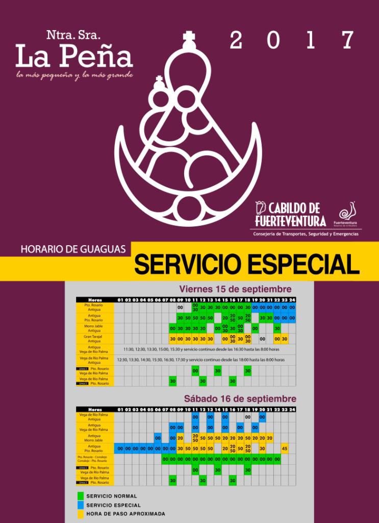 Fiesta Nuestra Señora de la Peña Fuerteventura –Sonderlinien des Busunternehmens Tiadhe.