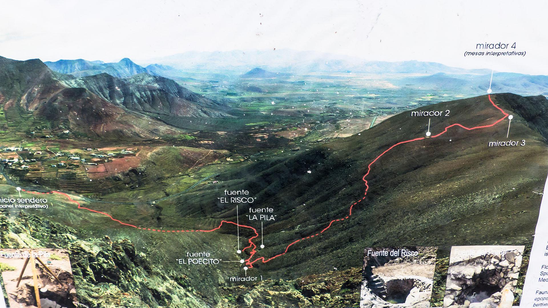 Wegskizze Wanderweg Fuentes de El Chupadero Fuerteventura.